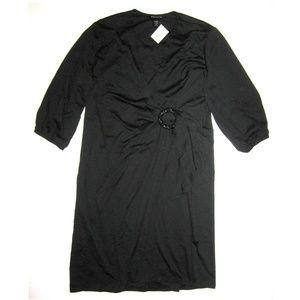 🆕Ashley Stewart PLUS 18 20 Black Ponte Wrap Dress